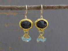 Iolite & Apatite Gold Earrings  24k Gold Earrings  Gold by Omiya