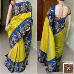 Kalamkari Dresses, Kalamkari Saree, Indian Dresses, Indian Outfits, Diwali Dresses, Kalamkari Designs, Stylish Sarees, Soft Silk Sarees, Elegant Saree