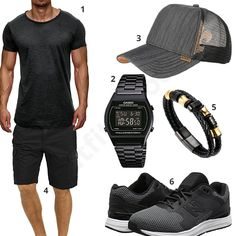 Grau-Schwarzes Männer-Outfit mit Casio (m0365) #outfit #style #fashion #inspiration #womenswear #womensoutfit #womenwear #womensstyle #damenmode #frauenmode #mode #styling #schuhe #sneaker #dress #summerstyle