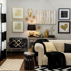 Bring home big-city #style with metallic gold and black #decor!
