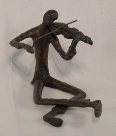 """5"""" Tall Bronze Seated Violinist Sculpture by the Bronzart Casting Co."""