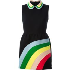 Red Valentino Sleeveless Rainbow Dress (10.821.580 IDR) ❤ liked on Polyvore featuring dresses, black, multicolored dress, sleeveless dress, black dress, multi colored dress and rainbow dress