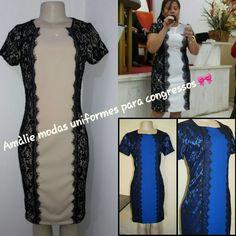 9c5884d59 Uniformes para congresso Amàlie modas. Vestido bicolor de renda.  Confeccionamos todos os tamanhos. Contato whatsapp 17981861062 📲