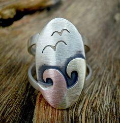 Landscape ring.Sterling silver Landscape ring.Silver landscape unique ring.Mixed metal ring.Mixed metal silver ring,mixed landscape jewelry.