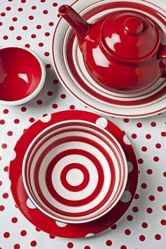 I love this Ceramic Red Teapot and Cup and Saucer Set. I love the red and white polka dot table cover. Red Teapot, White Cottage, Shades Of Red, My Favorite Color, Red Color, Red And White, Sweet Home, Polka Dots, Tableware