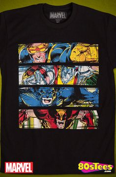 Intimidation X-Men T-Shirt: Marvel Comics Mens T-Shirt X-Men Geeks:  These celebrity characters have been seen in films and comic books and the design and illustration of the art on this product makes it a must have to your men's fashion t-shirts.