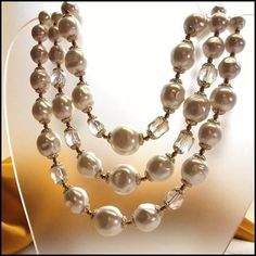 Baroque Pearl Necklace w Austrian Crystals 1950s Vintage Jewelry $85