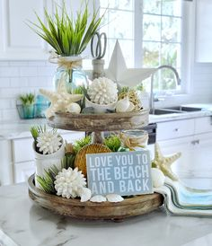 Home Decoration Living Room Dining Delight: Tiered Tray with Beach Decor & More Tray Ideas.Home Decoration Living Room Dining Delight: Tiered Tray with Beach Decor & More Tray Ideas Tray Styling, Vintage Modern, Home Living, Living Rooms, Beach House Decor, Beach Houses, Summer House Decor, Tray Decor, Beach Themes