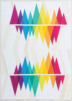 How pretty are these rainbow quilt designs? Rainbow quilts are great scrap-busting projects. They make great DIY baby shower gifts, and/or brighten up a room. Quilting Projects, Quilting Designs, Sewing Projects, Rainbow Quilt, Quilt Modernen, Contemporary Quilts, Triangles, Quilt Making, Quilt Blocks