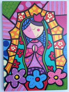 Virgin Mary Art, Blessed Virgin Mary, Cute Wallpaper Backgrounds, Cute Wallpapers, Kids Canvas Art, Painted Flower Pots, Cartoon People, Arte Pop, Mexican Art