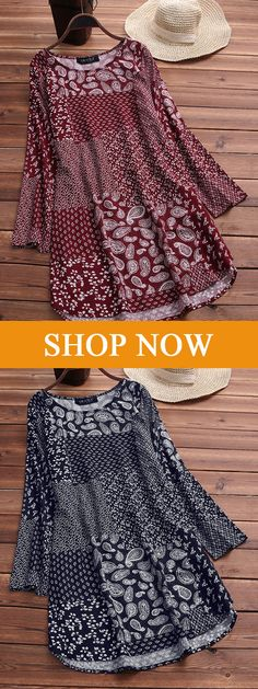 Asymmetrical Folk Style Print Long Sleeve Vintage T-shirts. #tshirts #tops #women