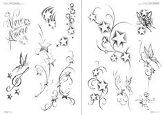 sketches of stars and hearts | Stars Tattoo Flash Drawings