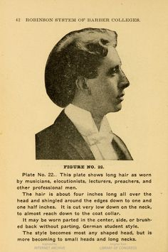 """The """"a la mode"""" cut for men. Seattle, Washington, 1906 Robinson System of Barber Colleges"""