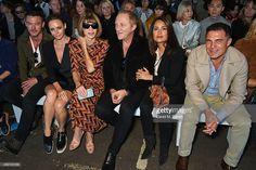 Luke Evans, Stella McCartney, Anna Wintour, Francois Henri Pinault, Salma Hayek and Andre Balazs attend the Hunter Original Spring/Summer 2016 Collection during London Fashion Week at Euston Station Parcel Deck on September 19, 2015 in London, England.