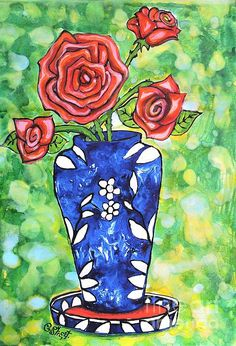 Roses in Blue Vase. Mixed media on paper by Caroline Street.