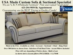 """The """"Deleware"""". Available as a Sofa, Loveseat, Chair, King Chair or Sectional. Over 800 fabric options. Reclining Sectional, Loveseat Sofa, Upholstered Sofa, Sectional Sofa, Recliner, Sofas, Home Furnishing Accessories, Home Furnishings, Furniture Making"""