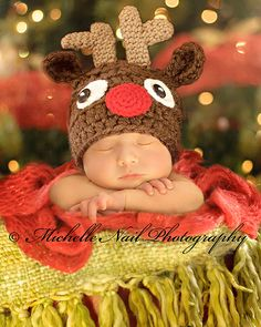 Baby Reindeer Hat Rudolph Beanie Christmas Hat by Adorably Hooked