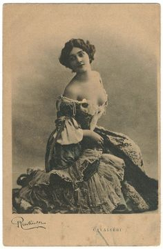 A risqué postcard of famous opera singer Lina Cavalieri, early 1900's.