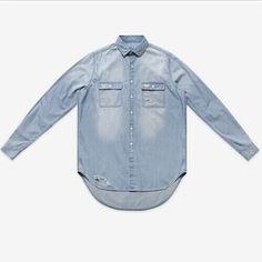 2016 New Man Distressed Denim Shirts Mens Hip Hop Blue Cowboy shirt Long Sleeve Hiphop Streetwear Swag Tyga Top Tee Clohes