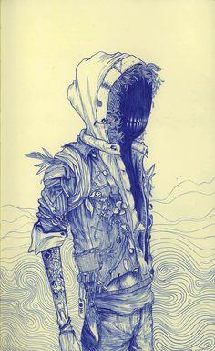 Illustration - illustration - www. illustration : – Picture : – Description www.creativeboysc… -Read More – Art And Illustration, Creepy Art, 6 Photos, Moleskine, Dark Art, Cool Drawings, Aliens, Les Oeuvres, Beautiful
