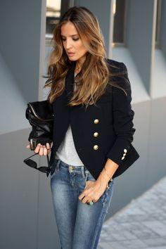 Navy blazer. @Ecstasy Models via Rosie Kulati