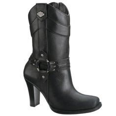 Harley Davidson Simone Motorcycle Boots Womens Black Leather - ONLY $129.99