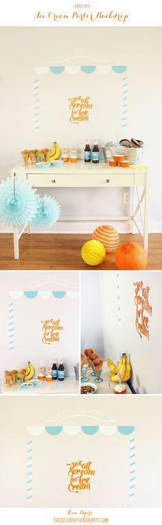 Make An Ice Cream Parlor Vinyl Backdrop for your Ice Cream Social | @kimbyers & @Cricut  #cricuteverywhere