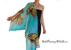Silk scarf hand painted. Butterfly scarf. by SilkPaintingWithLove