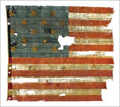 """A post-Revolutionary version, this official 1795 flag flew from Fort Henry, inspiring Francis Scott Key's """"Star-Spangled Banner."""""""
