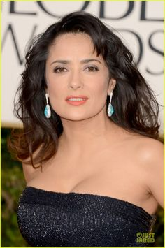 Great Choice Salma!!!! Salma Hayek in Paraiba Tourmaline Cabochon Earrings at the Golden Globes 2013 Red Carpet