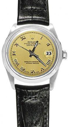 Datejust Rolex Black Leather Band Watch Roman Dial Lady Men.