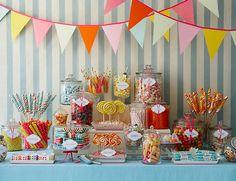 Colorful candy bar - From http://mybridestory.blogspot.com/2008/09/dessert-bar-inspirations.html