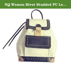 """NQ Women Rivet Studded PU LeatherBackpack School Knapsack Rucksack Bag white OS. Note: The size chart is normal china size. our size is smaller two than the size United States. Product Parameters Adjustable sternum strap Fabric: PU Leather Item Weight: 0.40kg Product Dimensions:9.45""""(24cm) x7.87""""(20cm) x4.72""""(12cm)."""