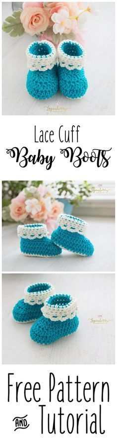 Lace Cuff Crochet Baby Boots + Free Pattern, Baby Shoes + Tutorial, Crochet Socks, Crochet for Babies https://bellanblue.com