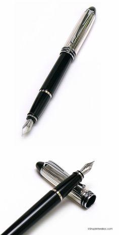 Aurora Ipsilon Silver Fountain Pen -  Black with Sterling Silver Cap