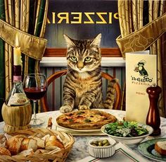 Charles Wysocki--Just like my cat, Linea (a tabby).  She thinks that the food placed upon the dinner table is set out for her.
