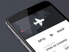 Boarding pass app animation concept. Flight information are inspired by @Miroslav Rajković  https://dribbble.com/shots/1690217-Airplane-ticket?list=likes&offset=1