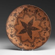 Yavapai Apache Figural Basket -10 humans paired with 10 dogs, flower outlined with zigzag lines fills center of basket, height 3.25 in. x diameter 16.5 in. early 20th century