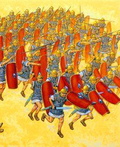 Roman legion century charging into battle, Punic War