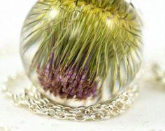 Real Burdock Pendant, Green Burdock Necklace, Thistle Jewelry, Resin Flower Pendant, Silver Pendant, Sphere 2.5 cm, Chain 45 cm