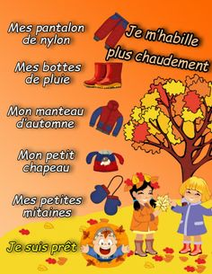 Habillement automne French Songs, French Grammar, Outdoor Learning, Teaching French, Home Schooling, Kids Songs, Early Learning, Outdoor Fun, Classroom Management