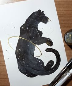 Day A starry Panther. - Day A starry Panther. Animal Sketches, Animal Drawings, Art Sketches, Art And Illustration, Big Cats Art, Pen Art, Pretty Art, Cute Drawings, Art Inspo