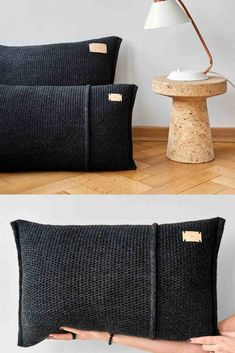 Kussen antracietgrijs, wol, gebreid, Dreamy – Finance is important Creative Textiles, Pillow Fight, Sewing Pillows, Crochet Pillow, Scatter Cushions, Soft Furnishings, Home Deco, Decorative Pillows, Pillow Covers