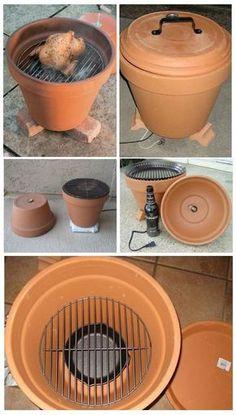 Een barbecue in een bloempot. Origineel! En natuurlijk een garantie dat je 's avonds lekker eet ;-)