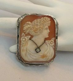 LATE 1800's ANTIQUE VINTAGE 14K WHITE GOLD VICTORIAN CAMEO DIAMOND PIN PENDANT