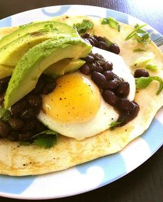 Great meal for breakfast, lunch, or dinner! Eggs over easy, black beans, avocado, and tortilla! Delicious!