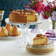 This pumpkin-pecan cheesecake definitely has that wow factor...and the candied pecans are so good. I had some extra and put them in a pretty candy dish and served them alone on the side. Whatever works!