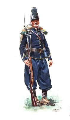 Union; 18th Massachusetts Volunteer Infantry wearing the full French Chasseur uniform .French Chasseur uniforms (10,000 sets were bought by the U.S. government) were issued to 3 regiments and possibly several others later on. Although well made many of the uniforms were too small for the whole lot to be issued. Most were returned to storage by the units , however some parts like the fatigue jackets and accoutrements were kept and used as late as the Gettysburg campaign.