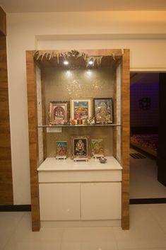 Pooja room door design PUJA ROOM: Dining room by SSDecor,Modern Engineered Wood Transparent Youth Sp Pooja Room Door Design, Home Room Design, Temple Design For Home, Flat Interior Design, Mandir Design, Living Room Tv Unit Designs, Puja Room, House Front Design, Modern Room