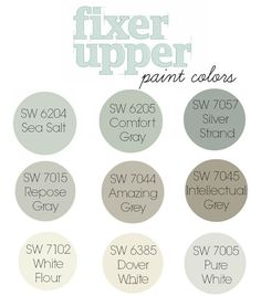 fixer upper paint colors. Best Seller Paint Colors by Sherwin Williams. SW 6204 Sea Salt. SW 6205 Comfort Gray. SW 7057 Silver Strand. SW 7015 Repose Gray. SW 7044 Amazing Gray. SW 7045 Intellectual Gray. SW 7102 White Flour. SW 6385 Dover White. SW 7005 Pure White. #SherwinWilliamsSW6204SeaSalt #SherwinWilliamsSW6205ComfortGray #SherwinWilliams...